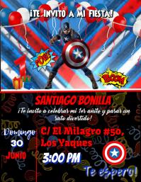 Trajeta de Invitacion Capitan America avenger party cumpleaños Flyer (US Letter) template