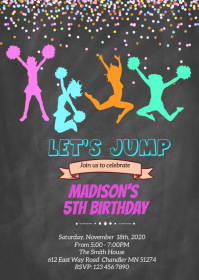 Trampoline Let's jump birthday invitation A6 template