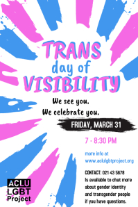 Trans day of visibility poster Affiche template