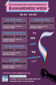 Transgender empowerment & awareness week flye Affiche template