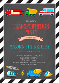 Transporation birthday party invitation
