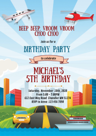 Transportation birthday party invitation