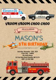 Transportation emergency birthday invitation A6 template