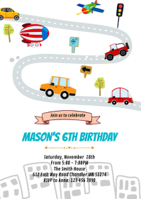 Transportation vehicle birthday invitation
