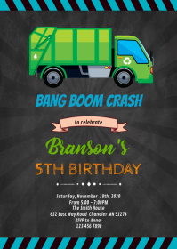 Trash truck birthday theme invitation A6 template