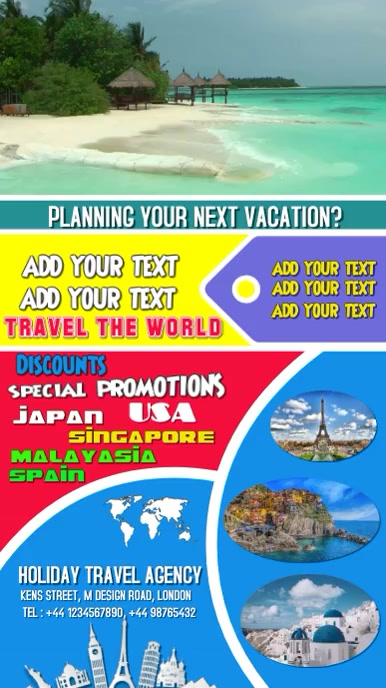 Travel, poster, holiday, video, background flyer Affichage numérique (9:16) template