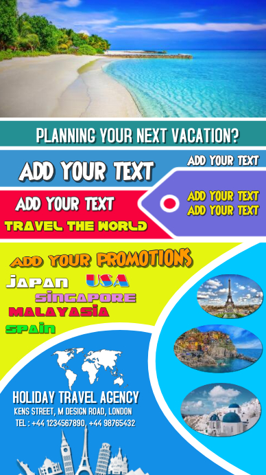 Travel, summer, Beach, Party, Flyer, Poster งานแสดงผลงานแบบดิจิทัล (9:16) template