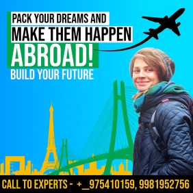 Travel Abroad Agency Promo Template Square (1:1)