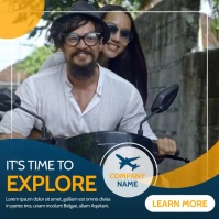 travel advertisement blue and yellow orange c Pos Instagram template