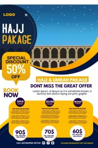 Travel agency, Hajj and Umrah Poster template