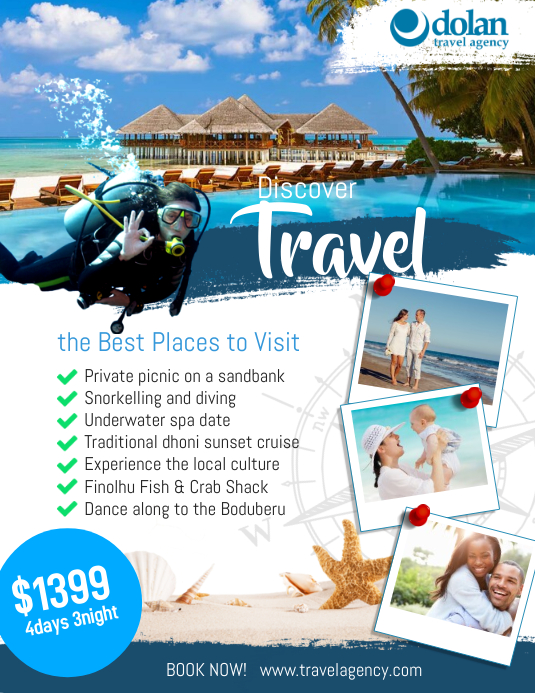 travel agency flyer ads poster template