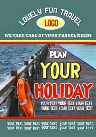 Travel agency advertising holiday destinations flyer