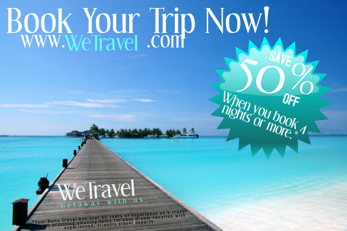 Travel Agency Book Cruise Trip Flight Discount Ad Poster