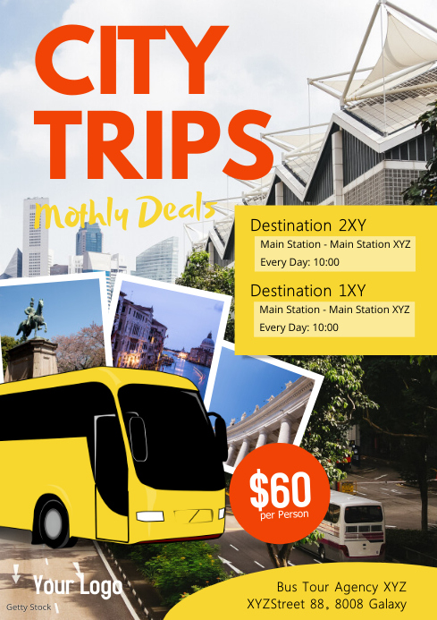 Travel Agency Holiday City Bus Tour trip Ad A4 template