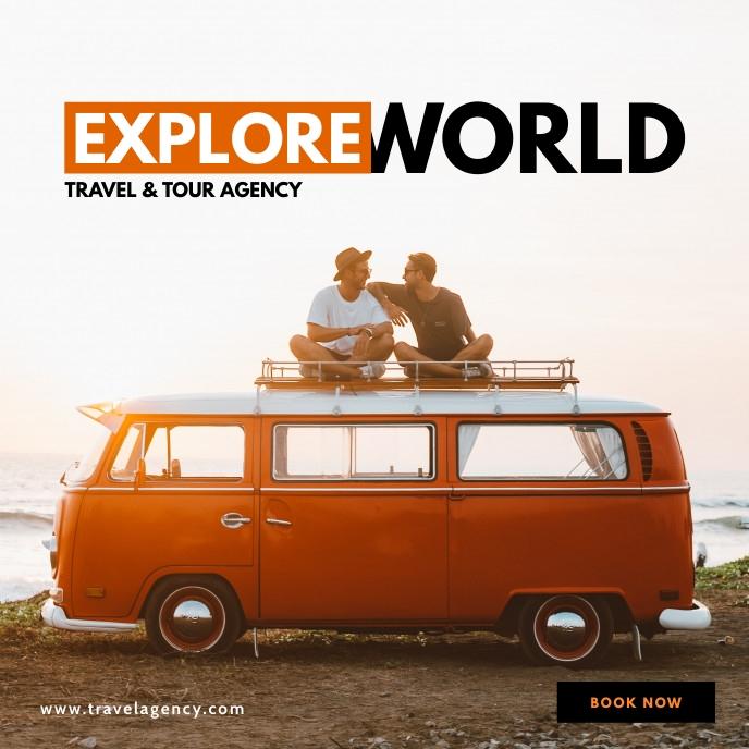 Travel agency instagram post Portada de Álbum template