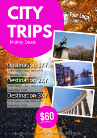 Travel Agency Offer Bus Tour Trip Holiday A4 template