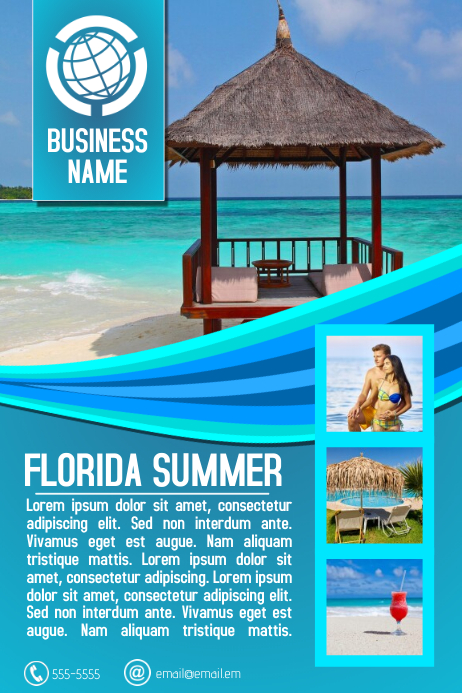 Travel Agency Or Tourism Destination Flyer Template Aqua Blue