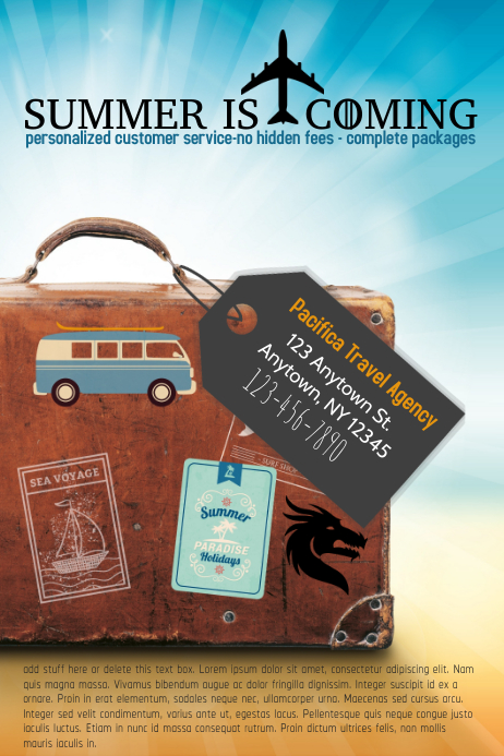 travel agency specialists flyer poster template