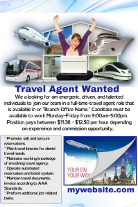 Customizable Design Templates for Travel Agent Help Wanted Flyer ...