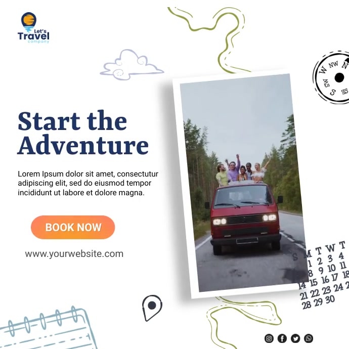 travel and tour Instagram-bericht template