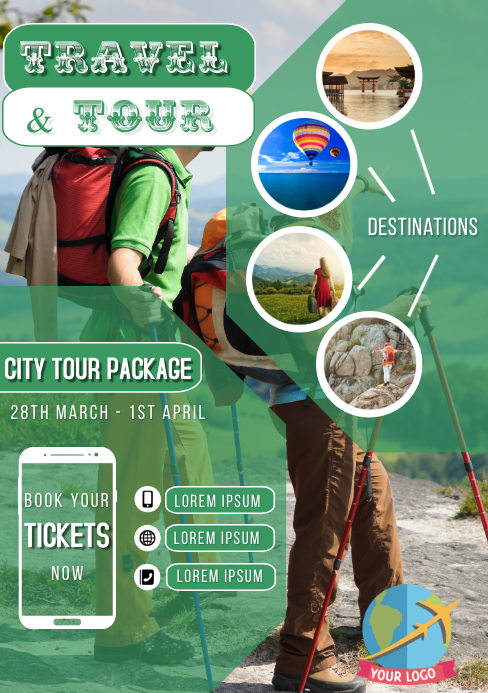 Travel and tour package poster flyer banner p A5 template