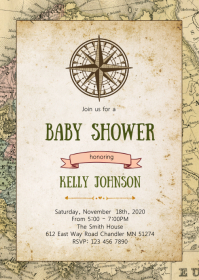 Travel baby shower elephant invitation