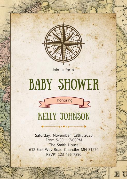 Travel baby shower elephant invitation
