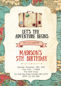 Travel birthday party invitation