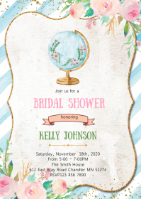 Travel bridal shower invitation
