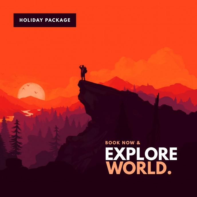 Travel package poster Portada de Álbum template