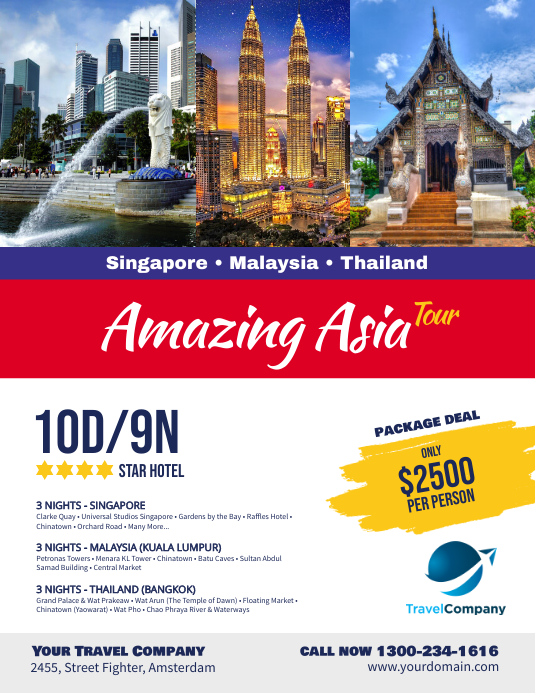 Travel Packages Asia Flyer Promotion Template