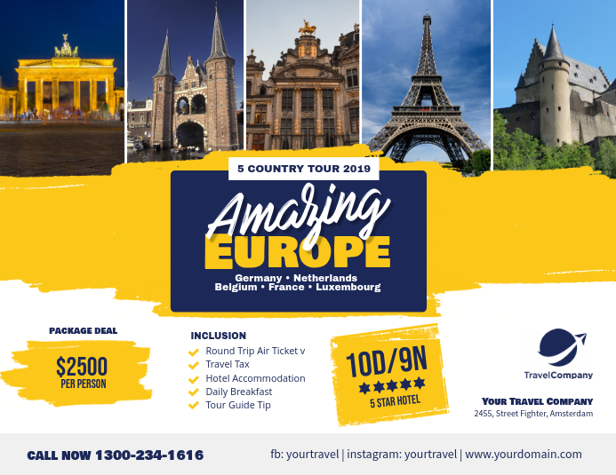 Travel Packages Europe Tour Flyer Poster Template
