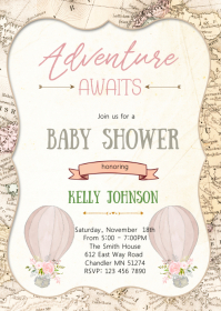 Travel shower party invitation