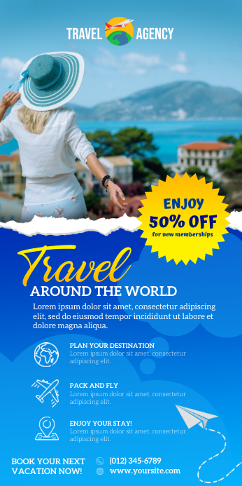 Travel Vacation Pull Up Banner ป้ายโรลอัป 3' × 6' template