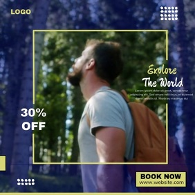 TRAVEL VIDEO AD Vierkant (1:1) template