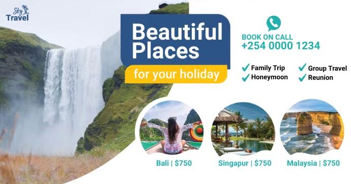 Travel Video Promotion Gedeelde afbeelding op Facebook template