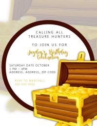 Treasure Birthday Party Invitation template
