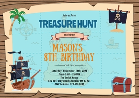 Treasure Hunt pirate birthday invitation A6 template