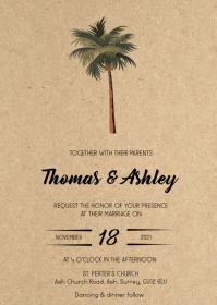 Tree balm Rustic kraft wedding invitation