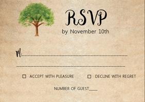 Tree Rustic Kraft wedding RSVP card