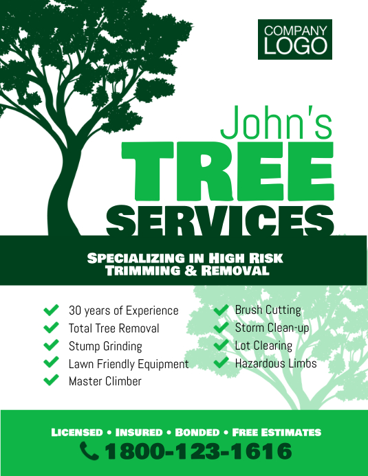 Tree Trimming Removal Services Flyer Poster Template