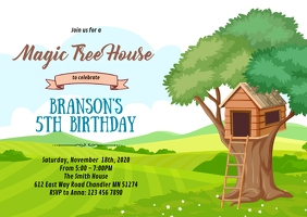 Treehouse birthday party invitation A6 template