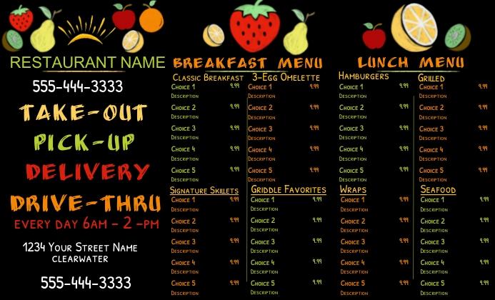 Tri-Fold Breakfast Lunch Menu US Legal template