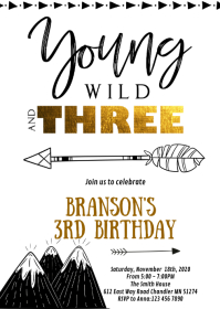 Tribal 3rd birthday party invitation A6 template
