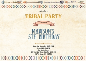 Tribal birthday party invitation A6 template