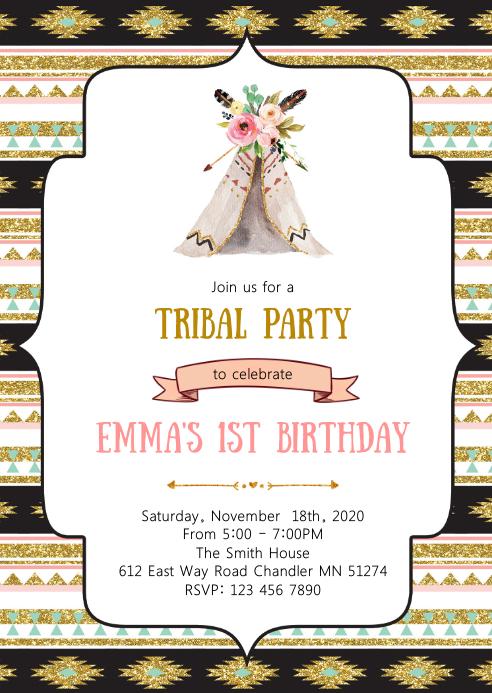 Tribal birthday party invitation