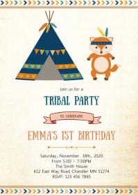 Tribal teepee fox birthday invitation