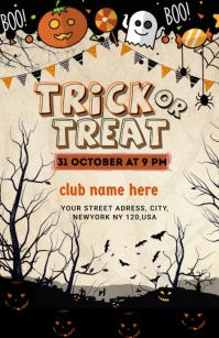 trick or treat Half Page Wide template