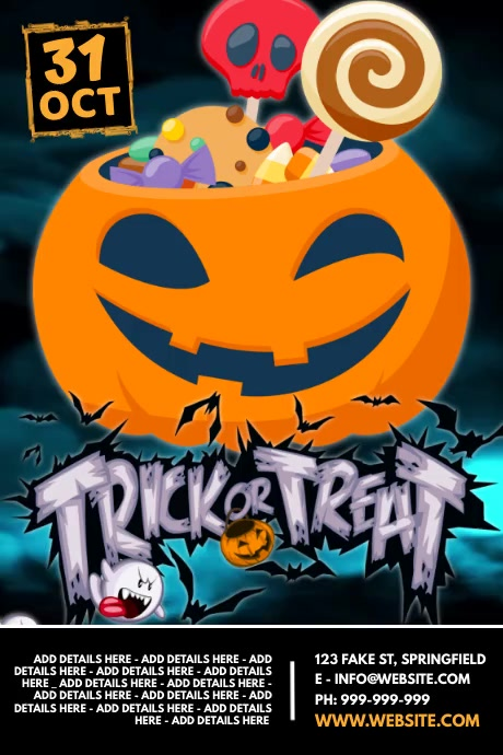 Trick Or Treat Video Poster Póster template