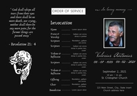 trifold funeral order of service design templ A4 template